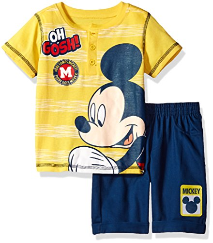 Disney Toddler Boys' 2 Piece Mickey Mouse Polo Top and Twill Short Set, Yellow, 4t