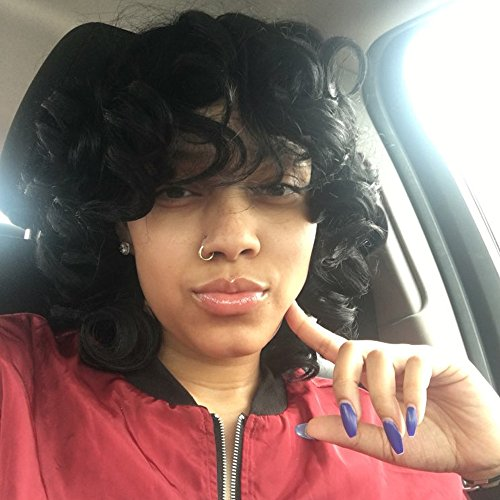 Search : QianBaiHui Black Short Kinky Curly Wigs for Black Women - African American Wig Heat Resistant Synthetic Hair Fashion Wig (Black3)