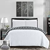 Chic Home 3 Piece Ora Heavy Embossed and Embroidered Quilted Geometrical Pattern Reversible Printed Queen Comforter Set White