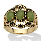 Oval Shaped Green Jade 14k Yellow Gold-Plated Antique-Finish Triple-Stone Filigree Ring, size 7