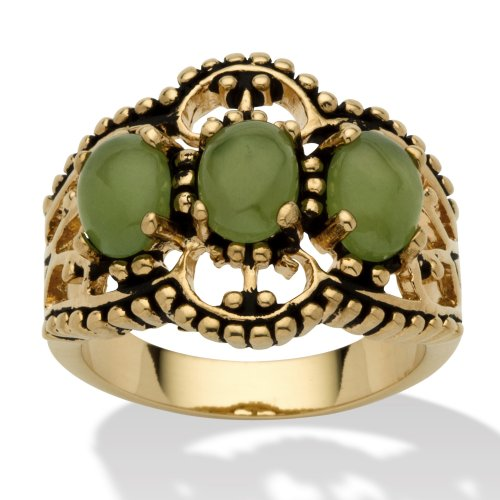 Jade Filigree Ring (Genuine Green Jade Antiqued 14k Yellow Gold-Plated Triple-Stone Filigree)