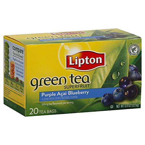 Lipton Green Tea Bags, Superfruit, Purple Acai & Blueberry, 20 ct, 3 pk