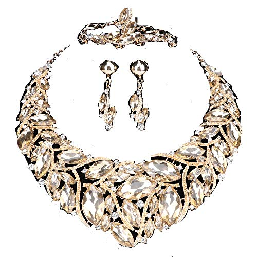 - WANG Bridal Costume Jewelry Sets Crystal Choker Necklace Earrings Ring Bracelet Set for Wedding Party Dress with Gift Box (Champagne)