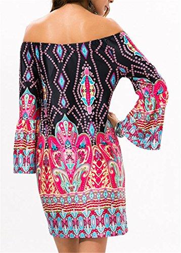 One 4 Ethnic Cromoncent Off Sleeve Long Dress Womens Beachwear Step Shoulder Print wU10q