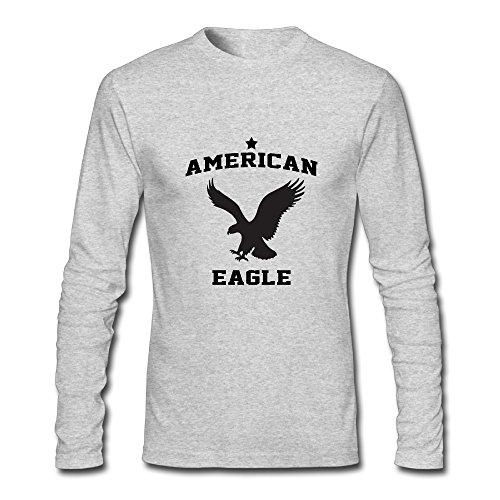 Men's Fashion American Eagle Long Sleeve T-Shirt Gray US Size S