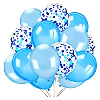 Konsait 40 Pieces 12 Inches Confetti Balloons White & Blue Latex Balloons Helium Balloons Party Supplies for Wedding Birthday Baby Shower Party Decoration