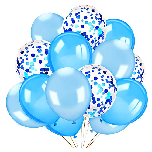Konsait 40 Pieces 12 Inches Confetti Balloons White & Blue Latex Balloons Helium Balloons Party Supplies for Wedding Birthday Baby Shower Party Decoration ()