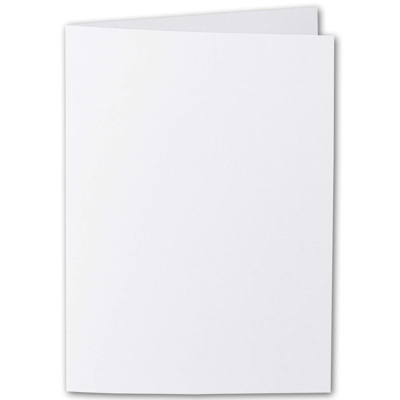 50x original ARTOZ DIN A5 Faltkarten - hochdoppelt - 220 g m²    Serie 1001    Blütenweiß - gerippt     148 x 210 mm