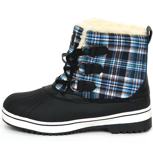 Nieuwe Trendy Lace Up Shearling Womens Winter Snow Warm Colorful Boots Shoes Blue