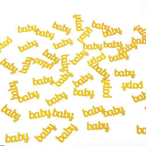 We Moment Gold Glitter Baby Paper Confetti,Table Confetti for Party Supplies, Baby Showers,Birthday Decorations,Pack of 100