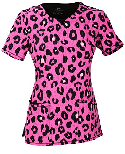 Women's V-Neck Animal Print Scrub Top Small Print (Cherokee Print V-neck Scrub)