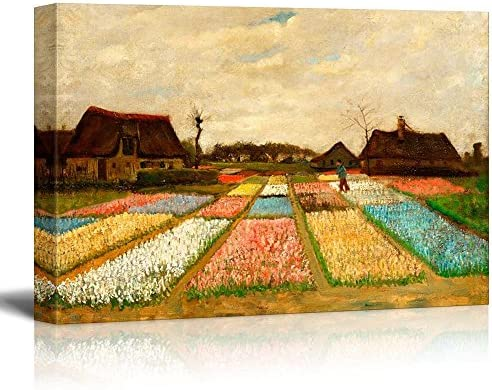 Flower Beds in Holland (or Bulb Fields) by Vincent Van Gogh Famous Fine Art Reproduction World Famous Painting Replica on ped Print Wood Framed Wall Decor