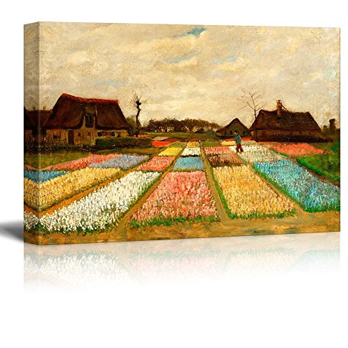Flower Beds in Holland (or Bulb Fields) by Vincent Van Gogh - Canvas Wall Art Famous Fine Art Reproduction| World Famous Painting Replica on Wrapped Canvas Print Modern Home Decor Wood Framed & Ready to Hang - 12