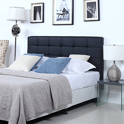 picture of Divano Roma Furniture Modern Deluxe Tufted Black Bonded Leather Headboard