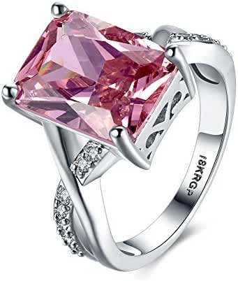 AKLOVER Womens Platinum-plated Gorgeous 12mm12mm Princess Cut Pink Zircon Gemstones Topaz Filled Silver Color Ring