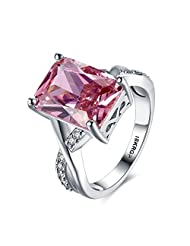 Eternity Love Women's Cubic Zirconia Cushion Solitaire Engagement Ring Pink Cz Wedding Anniversary White Gold Plated Ring, 6-9