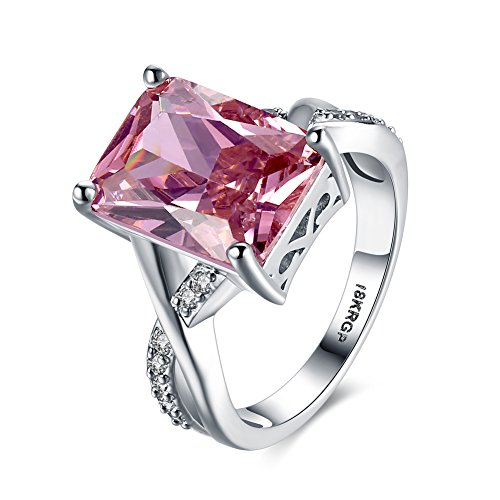 (Lunule Women Platinum Plated Double Layer Band Charming Pink Cubic Zirconia CZ Solitaire Ring Size 6-9)