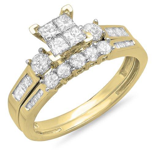 Dazzlingrock Collection 1.20 Carat (ctw) 10K Princess, Round & Baguette Cut Diamond Ladies Bridal Engagement Ring With Matching Band Set 1 1/4 CT, Yellow Gold, Size 9 ()