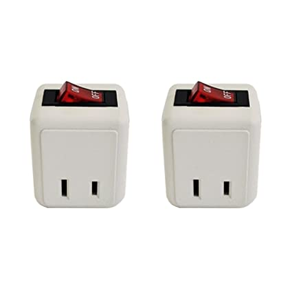 2 pack uninex wall tap outlet w turn on off switch power adapter 2