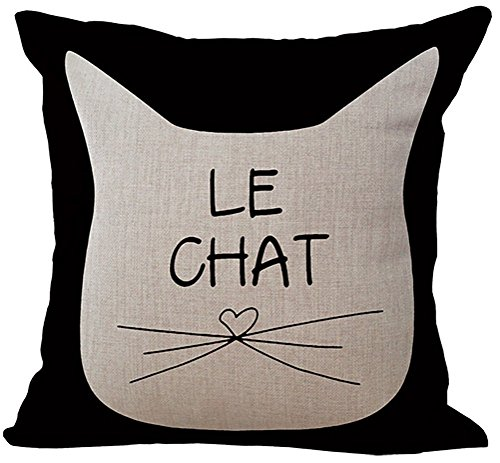 ChezMax Linen Blend Black and White Cats Pattern Cushion Cotton Square Decorative Throw Pillow 18 X 18#039#039
