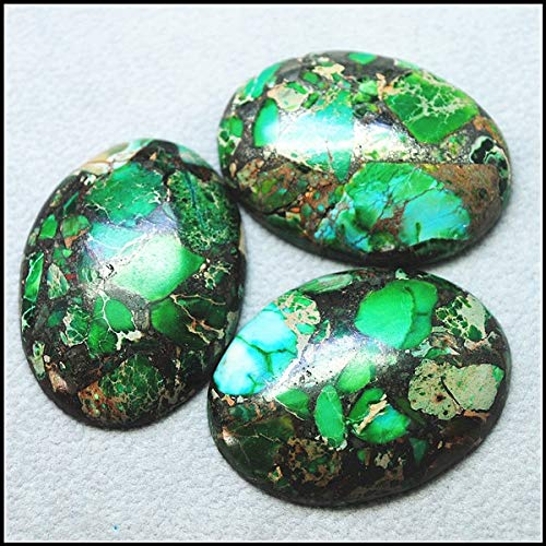 (Calvas 3pcs Hot Natural semi Precious Stone cabochons for Women Pendants Making DIY Accessories 30x40mm Oval Shape sepacially Beads - (Color: gren))