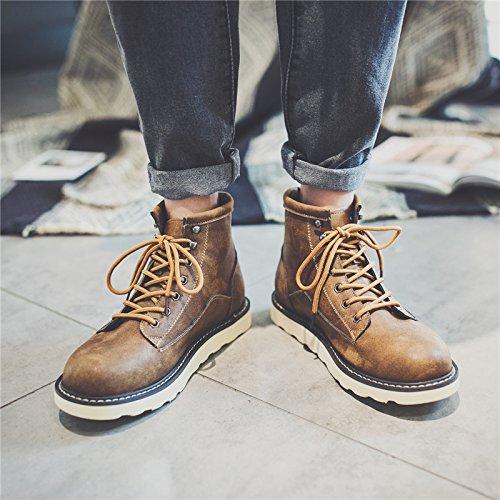 HL-PYL-rétro Chaussures pour hommes bottes hautes bottes coréen Ma Dingxue pour l'Angleterre,38,brun