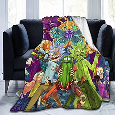Sunshine-supermarket Cartoon Rick Morty Funny Blanket 3D Print Anti-Pilling Flannel Throw Blanket for Children,60