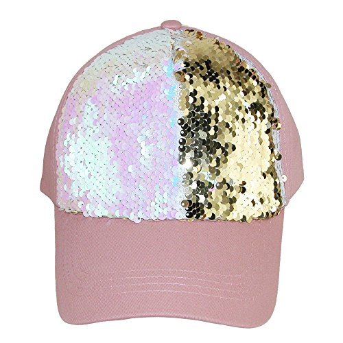 David & Young Women's Cotton Baseball Cap With Sequins, Dusty Pink