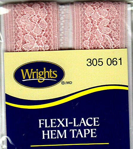 WRIGHTS PINK (061) FLEXI-LACE HEM TAPE-3 YDS-REPAIR, CLOTHING, ()