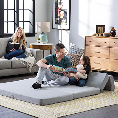 LUCID 4 Inch Folding Mattress and Sofa with Removable Indoor / Outdoor Fabric Cover - Queen Size by LUCID (Image #2)