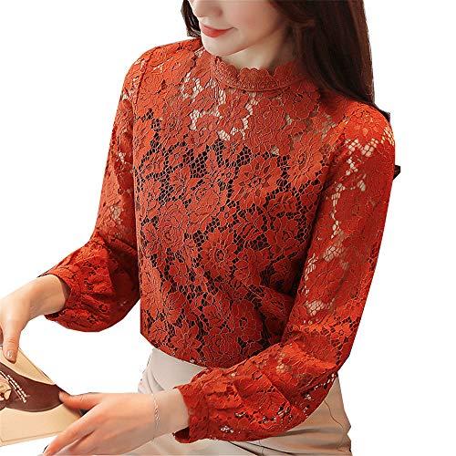 Sexy Pizzo Openwork Maglia maglione Donne Della Shirloy Fascino Delle Lunghe Di Camicia Temperamento Colore Caramello A Maniche Inferiore fZWqO