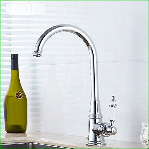 Commercial Single Lever Pull Down Kitchen Sink Faucet Brass Constructed Polished Copper Chrome-Plated Silver Kitchen Sink Sink Elbow Hot and Cold Water redatable Faucet