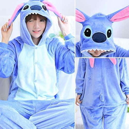 bleu Stitch L JYLW Pyjamas l'hiver Madame Pyjama Licorne pour Adultes Tout-en-Un Pyjama Costume Animal Cosplay Femmes Hiver VêteHommest Mignon Animal Licorne Pyjama Ensembles Costume Hiver
