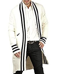 Mens Kimono Lightweight Cardigans Open Front Stripe Knitted Long Cardigan Sweaters