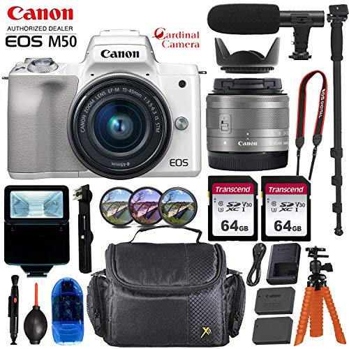 Canon EOS M50 Mirrorless Digital Camera – Silver w/15-45mm Lens + Pro Accessory Bundle (Including Digital Flash, Sturdy Equipment Carrying Case, 2X 64GB Transcend Memory Cards and More.)