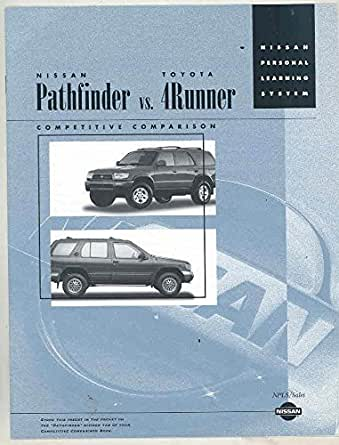 1996 nissan pathfinder vs toyota 4runner salesman 39 s brochure entertainment collectibles. Black Bedroom Furniture Sets. Home Design Ideas