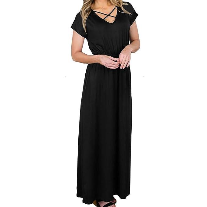 33ba2870bb26cb Kleid damen Kolylong® Frauen Elegant V-Ausschnitt Kurzarm Kleid Einfarbig  Vintage Lang Kleider mit Taschen Stretch T-shirt Kleid Maxikleid  Strandkleid ...