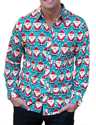 Mens Long Sleeve Xmas Santa Snowman Button Shirt Tops Lapel Neck Christmas Party Button Down Dress Shirt Plus Size