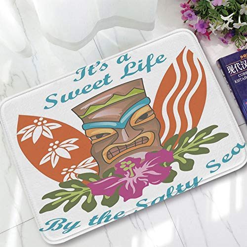 YOLIYANA Bath Mat,Tiki Bar Decor,for Dining Room Bathroom Office,15.75