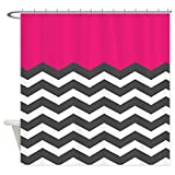 Hot Pink Chevron Shower Curtain Flaun Home Fashions Decorative Hot Pink Chevron White Chevron Shower Curtain for Bathroom,Polyester, Machine Washable - Shower Hooks are Included