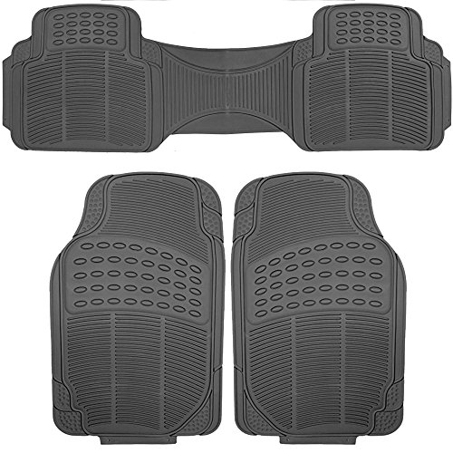 SCITOO Universal Car Floor Mats, Durable Rubber Anti-Skid Heavy Duty Floor Mats fit Cars Trucks Vans Suvs Black - Front+Rear(3pcs)