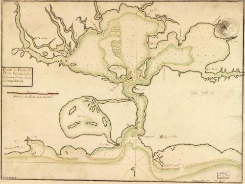 1700 Map Plano del Puerto del Padre cituado en la costa del N. de la ysla de Santiago de Cuba. - - Finder Costa Store