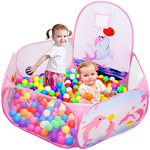 - Likorlove Kid Ball Pit with Basketball Hoop 4ft/120cm, 1-6 Years Child Toddler Ball Ocean Pool Tent with Zippered Storage Bag for Boys Girls (No Smell) Healthy Pop Up Dolphin Play Tent - Pink