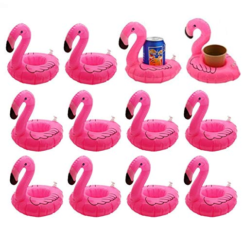 - 12 Pack Inflatable Flamingo Pool Float Drink Holder Pool Floats Toy for Flamingo Party Supplies, Kids Bath Toys