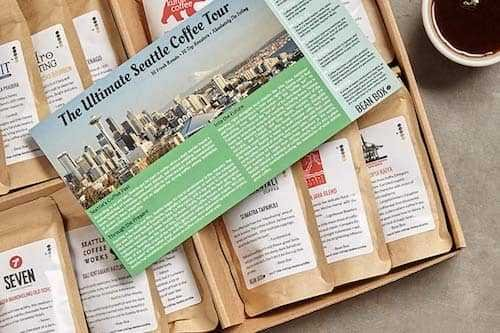 Bean Box Seattle Deluxe Coffee Tour Housewarming Gift Box - (whole bean, 16 roasts, 16 roasters, personalized gift note, coffee gift basket)