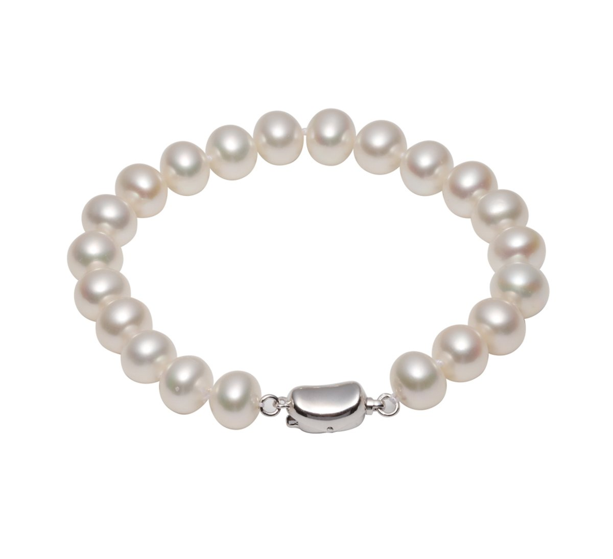AIDNI 8-8.5mm AAA Quality Freshwater Cultured White Round Pearl Bracelet