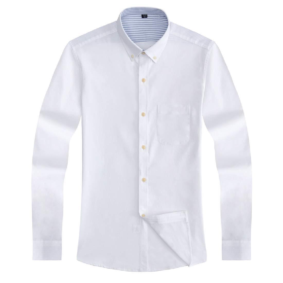 Domple Men Casual Business Cotton Long Sleeve Button Down Dress Oxford Shirt