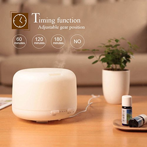 Roowo Cool Mist Humidifier, 500ml Aroma Essential Oil Diffuser with Adjustable Mist Mode, Auto Shut-off, Queit Operation for Office ,Bedroom ,Living Room, Yoga, Spa,Gift (7 led lights)) by ROOWO (Image #1)