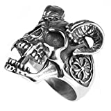 Bishilin Jewelry Men's Rings Stainless Steel Skull with Horn High Polished Ring Silver Size 13