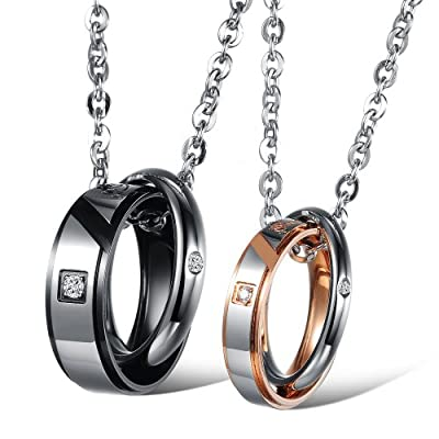 His & Hers Matching Set Couple Titanium Stainless Steel Pendant Necklace Simple Love in a Gift Box (A Set)